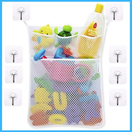 Bad Organizer für Badewannenspielzeug & Badeutensilien, -NEUE VERSION- inkl 8 selbstklebenden + transparenten Haken, zum Hängen | schimmelfrei + waschmaschinenfest, Aufbewahrungsnetz, Spielzeugnetz