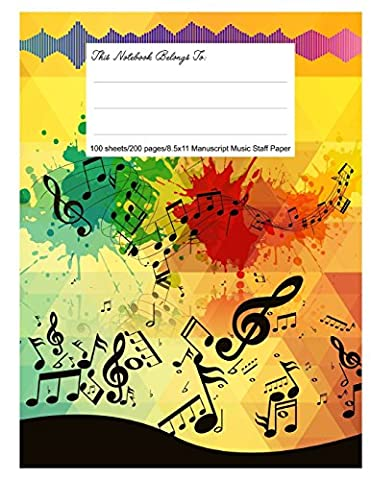 Staff Paper Blank Manuscript Musical Notebook, 12 Staves, 8.5.x 11, Crazy Notes