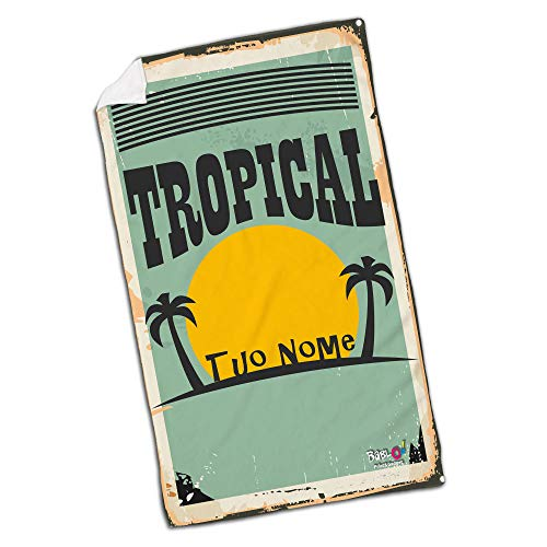 Babloo telo mare da spiaggia vintage tropical personalizzato con nome 100x180
