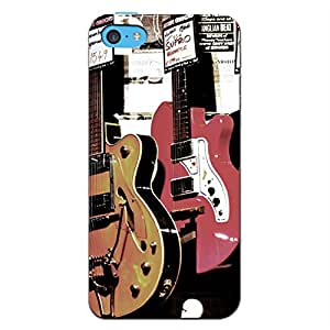Blue Throat Pair of Vintage Guitars Back Case Cover for Apple iPhone 5c