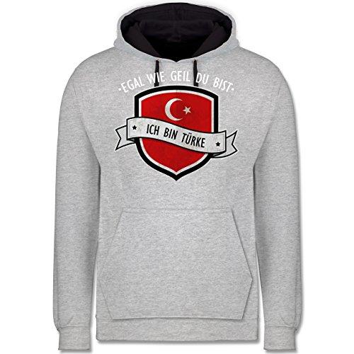 Länder - Egal wie geil du bist - ich bin Türke - Kontrast Hoodie Grau meliert/Dunkelblau