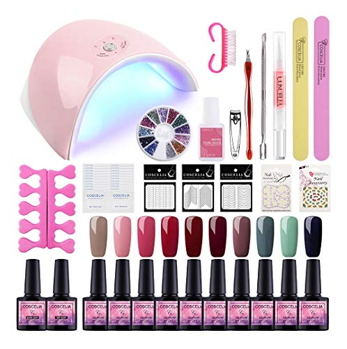 Saint-Acior 36W UV/LED Lámpara Uñas Secador de Uñas 10PCS Esmalte Semipermanente Soak off 8ml Kit...
