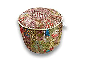 """Indian Patchwork Embroidery Decor Round Floor Seating Cushion Ottoman Pouf Cover 14 X 22 X 22 """""""