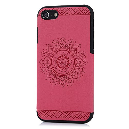 iPhone 7 / iPhone 8 Hülle KASOS Handyhülle für iPhone 7 / iPhone 8 Schale Monochrom TPU Etui Case Protective Schützende Stoßdämpfung Cover Executive Design, Totem Rose Red Totem Rose Red