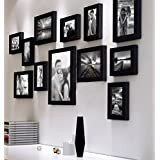Painting Mantra Decorative Premium Nebula Individual Wall Photo Frame - Black, Set of 12 (4X6-7 Unit, 6X8-4 Units, 8X10- I Unit)