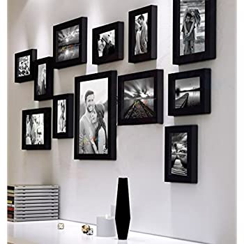 Art Street Decorative Nebula Set of 12 Individual Wall Photo Frame - Black(4X6-7 Unit, 6X8-4 Units, 8X10- I Unit)