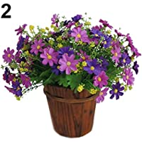 1 Bouquet 28 Heads Artificial Fake Cute Daisy Flower Home Wedding Garden Decor - Purple Amesii