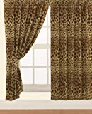 """Children's Kids Pair of 66"""" Width x 72"""" Drop LEOPARD DESIGN CURTAINS With Matching Tie Backs By Viceroybedding"""