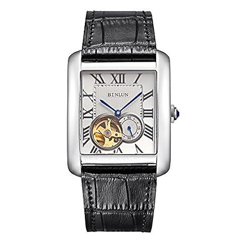 Binlun Men's 21-Jewel Skeleton Japanese Automatic Mechanic Movement Bracelet Watch-Black