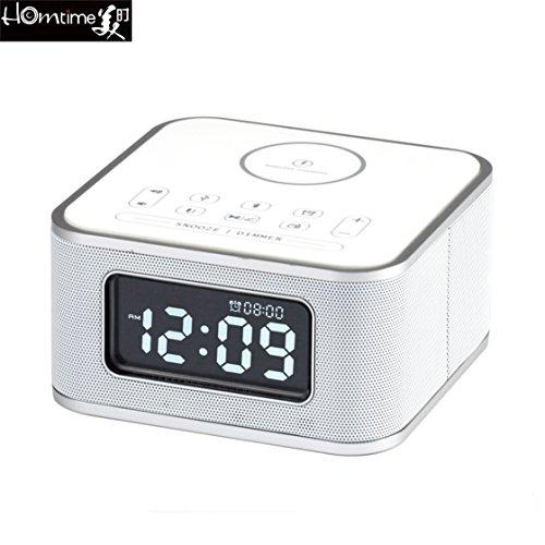 Multifunktions Radiowecker, Homtime D2-Qi Alarm Clork USB drahtloser ladender Bluetooth-Sprecher, beweglicher Noten Steueralarm, Freisprechtelefon, LCD Bildschirm Digitale Schlummer Wecker, Radio FM Musik Spieler (weiß)