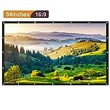 Joyhero 84 Zoll Beamer Leinwand Heimkino HD 16: 9 Projektionswand Faltbarer beweglicher Projektor-Schirm mit hängendem Loch und einem klaren Bild - verwendbar Projector Screen für Innen- / im Freienwand / HDTV / Sport / Heimkino / Dias / Ausbildung