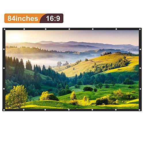 Joyhero 100 Zoll Beamer Leinwand Heimkino HD 16: 9 PVC-Projektionswand (221x 124cm) Faltbarer beweglicher Projektor-Schirm mit hängendem Loch und einem klaren Bild - verwendbar für Innen- / im Freienwand / HDTV / Sport / Heimkino / Dias / Ausbildung