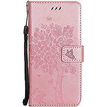 pinlu Flip Funda de Cuero para LG Nexus 5 X 5.2 Carcasa con Función de Stent y Ranuras con Patrón de Gato y Árbol Cover (Oro rosa)