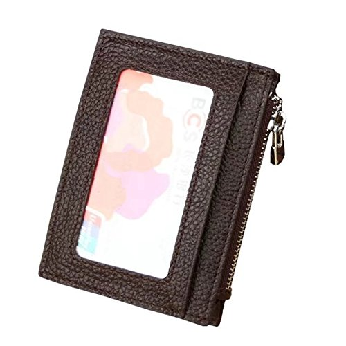 MOXO Leder RFID-Blocking-Karte Slim Wallet Zipper Mini Card Holder Visitenkarte Credit Card Holder Geldbörse Mens - Womens Slim-credit Wallet Card