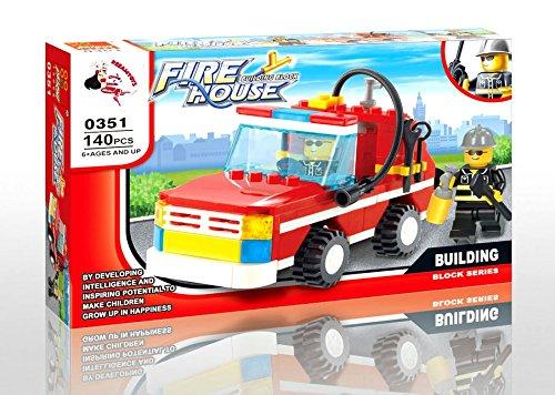 Feuerwehr Löschfahrzeug - Kommandofahrzeug - City Feuerwehr,0351 - Baukasten mit 140 Teilen - Kompatible Bausteine,mit anderen Marken kombinierbar (Duplo Set Castle Lego)