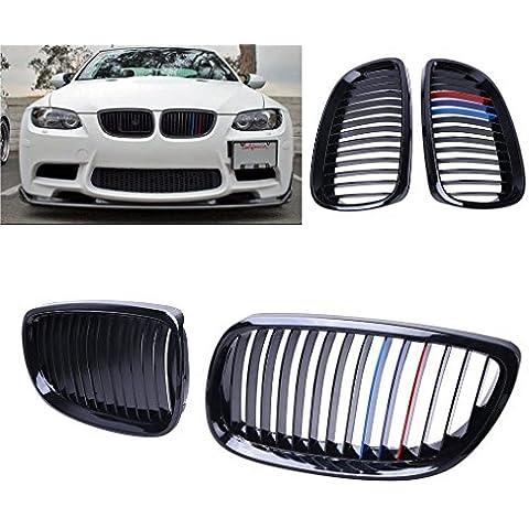 SENGEAR - Parrilla Delanteras Rejillas Frontales (Negro Brillante + Tres Colores) para 2007-2010 BMW E92 E93 328i 335i Modelo de