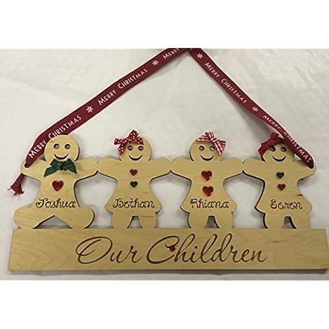 Famiglia in legno personalizzabile nipoti Placca Natale regalo, Legno, MAPLE WOOD, 6