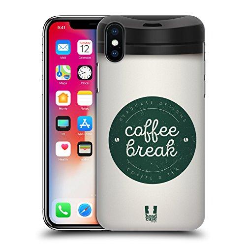 Head Case Designs Ghiacciato Tazze Di Caffè Cover Retro Rigida per Apple iPhone X Bianco
