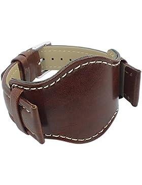 Minott Uhrenarmband   Ersatzband aus Leder mit Unterlage für das Uhrengehäuse, schwarz 29785, Stegbreite:18mm