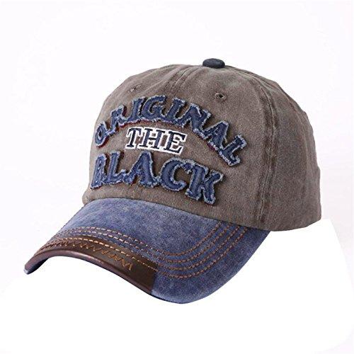 Unisex MäNner Frauen Mischfarbe Einstellbare Original der Schwarze Brief Baseball Trucker Cap Sport Snapback Hip-Hop-Hut (Kaffee)