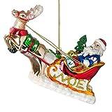 Heaven Sends Dipinto a mano in vetro per albero di Natale decorazione–slitta di Babbo Natale (15cm)