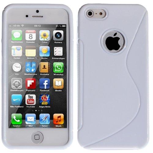 wortek® TPU Silikon Schutzhülle S-Line mit Logoausschnitt + extra Grip Apple iPhone 5 / 5S Grau Transparent 5 / 5S / SE - Weiß