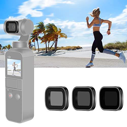 Neewer magnetisches ND-Filterset für DJI Osmo Taschen Gimbal-Handkamera, inklusive mehrfach beschichteter ND4-ND8-ND16-Filter mit Tragebox (schwarzer Aluminiumlegierungsrahmen)