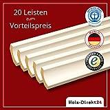 20 Stk / 52 m Stück Hohlkehlleiste Hochglanzweiß mit fein geprägter Maserung 2600 x 24 x 24 mm - Vorteilspack 2,30€/m - 22% Rabatt