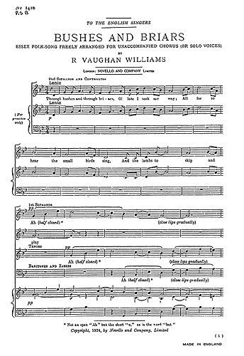 Read Ralph Vaughan Williams: Bushes And Briars (SATB