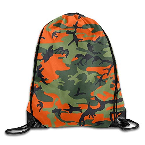 rwwrewre Kordelzug Turnbeutel,Orange Camo Drawstring Bag Backpack Bags Sports Sack String Backpack Storage Bags for Gym Traveling