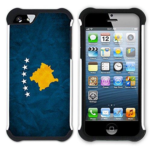 Graphic4You Vintage Uralt Flagge Von Kurdistan Kurdisch Design Hart + Weiche Kratzfeste Hülle Case Schale Tasche Schutzhülle für Apple iPhone SE / 5 / 5S Kosovo