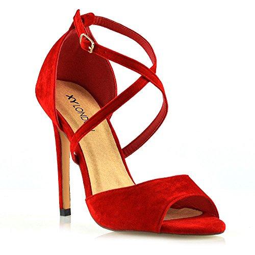 ESSEX GLAM Donna Cinturino alla Caviglia Peep Toe Sandali Le Signore Tacco a Spillo Festa Scarpe (36 EU, Rosso Finto Scamosciato)