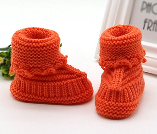 Yogogo Toddler bébé Handcrafted Chaussures Knitting dentelle crochet Chaussures Boucle Orange