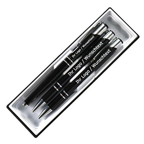 Edles Schreibset aus Metall mit Füller, Druckbleistift und Kugleschreiber mit Wunschgravur in Etui....
