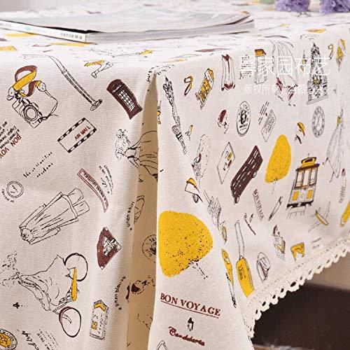 n Tischläufer Partytischdecken Baumwolle Und Leinen Pastorale Frische Reise Mädchen Tischdecke Kaffeetischdecke Kühlschrank Computer Abdeckung Tuch Staubtuch, Bild Farbe, 140 ()