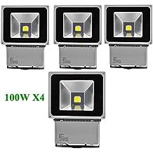 Greenmigo 4pcs Foco Proyector LED 100W Para Exteriores,Blanco Frio 6500K,Resistente al Agua IP65,luz Amplia,Luz de Seguridad