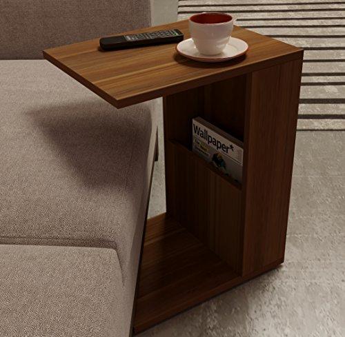 Homidea BONO Beistelltisch - Moderner Couchtisch auf Rollen in trendigem Design mit Ablagefläche (Nussbaum) (Tisch Aus Nussbaum)