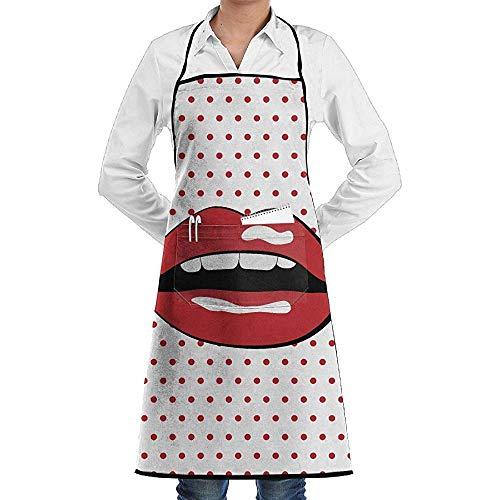 Sexy Kiss Kostüm - UQ Galaxy Schürze,Sexy Womens Kiss Lip Print Schürze Spitze Unisex Chef Einstellbare Lange vollschwarze Küche Schürzen Lätzchen mit Taschen zum Backen Crafting BBQ