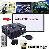 Hongfei (EE. UU. Plug) Mini Proyector, UC28B Portable Home Theater Multimedia LED Proyector Soporte USB TF Card