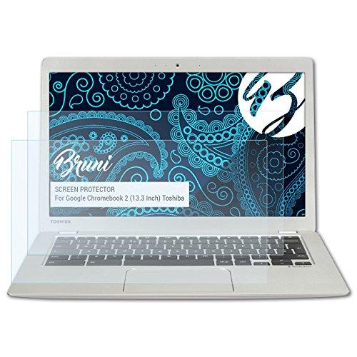 Bruni Schutzfolie kompatibel mit Google Chromebook 2 (13.3 Inch) Toshiba Folie, glasklare Bildschirmschutzfolie (2X)