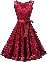 DYLH Damen Spitzen Rockabilly Kleid Festlich Partykleid Cocktailkleid Brautjungfern Kleid Rundhals/V Ausschnitt Ärmellos
