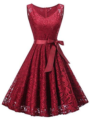 HENCY Damen Spitzen Kleid Festlich Partykleid Cocktailkleid Brautjungfern Kleid V Ausschnitt Ärmellos Weinrot XXXLarge