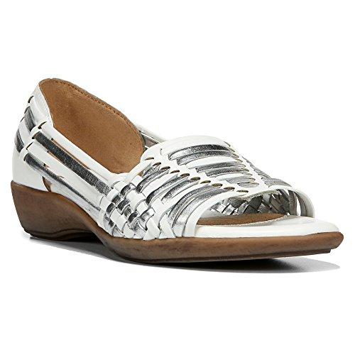 Naturalizer Frauen Platform Sandalen White/Silver Metallic Woven Leather