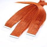 hair2heart 10 x Tape In Extensions aus Echthaar, 50cm, 2,5g Strähnen, glatt - Farbe 130 kupferrot