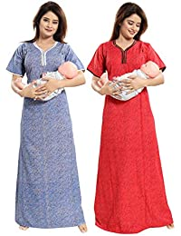 0d8580b6c9 TUCUTE Women Beautiful Print Poly-Cotton Invisible Zip Pattern  Feeding Maternity Nursing Nighty Night Gown Nightwear…