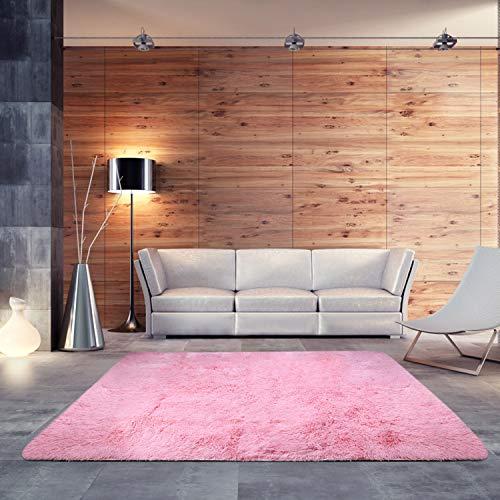 BlueSnail Super-weicher, moderner Teppich für Schlafzimmer, Wohnzimmer, Wohnzimmer, Wohnzimmer, Wohnzimmer, Teppich, Decke, Kinderspiel, Heimdekoration. 4' x 5' Rose -