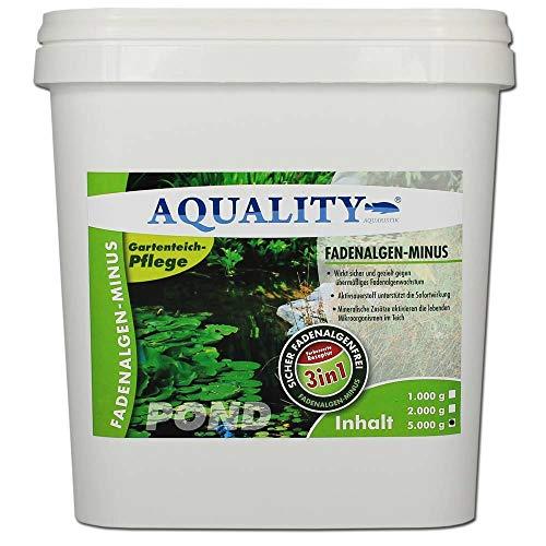 AQUALITY Gartenteich Fadenalgen-Minus 3in1 (GRATIS Lieferung in DE - Wirkt sicher und gezielt - Fadenalgenvernichter, Algenmittel, Algenentferner. Aktivsauerstoff mit Sofortwirkung), Inhalt:5 kg