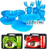 Large Plastic Picnic Camping Party Dinner Plate Mug Cutlery Set