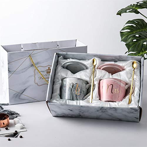 Jinsha Tassen Set - Mr Und Mrs Kaffeetassen 6 Pcs Exquisite Geschenkver Packung Becher Set Geschenk zum Valentinstag Hochzeits Verlobungs Geburtstag (400 ML)
