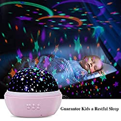 TekHome 2019 Sternenhimmel Projektor, LED Nachtlicht Baby Sternenprojektor für Kinder, Mini Lampe Kinderzimmer, 8-Farbig Schlaflicht, Baby Mädchen Junge Geschenke 3-12 Jahre, 2 Themen, 48 Effekte.